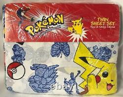 1998 Pokemon Twin Bed Sheet Set Flat Fitted Pillowcase USA Made New Sealed Rare
