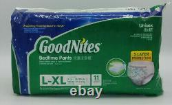 2015 Goodnites Pull Ups Unisex Bedtime Diapers L/XL 11 Count New Sealed Made USA