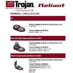2x Trojan Reliant T875-AGM 8V 160Ah Deep Cycle Sealed AGM Battery Made in USA