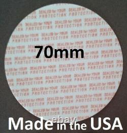 70mm Press & Seal Cap Liners 70 mm Foam Safety Tamper Seals USA Made 50-1000