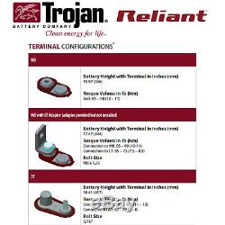 8x Trojan Reliant L16-AGM 6V 370Ah Deep Cycle Sealed AGM Battery Made in USA
