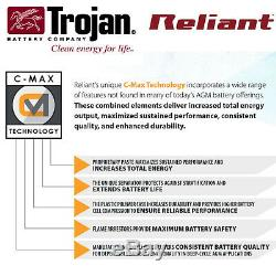 8x Trojan Reliant T105-AGM 6V 217Ah Deep-Cycle Sealed AGM Battery Made in USA