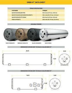 Accuair AA-ENDO-VT45-RAW 5 Gal Aluminum Air Tank With 4 Corner Valves