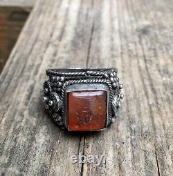 Antique Yemen Filigree Silver Seal Ring Hand Made Islamic Caligraphy Size 11 USA
