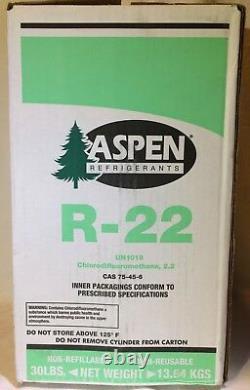 Aspen 22 Refrigerant R-22 30lb R22 SEALED VIRGIN CYLINDER TANK JUG MADE IN USA
