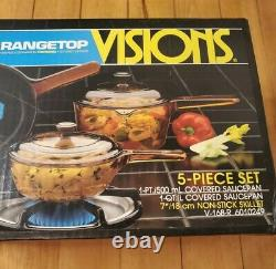 Corning Visions Rangetop Cookware Amber 5 Piece Set Vintage Sealed Made in USA