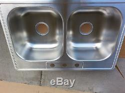 Elkay High-End Made in USA Top-Mount 3-Hole Sink 33 X 22 STAINLESS. FAC SEALED