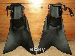 Force Fin Pro sz L large black Scuba Diving Snorkeling Seal Fins Made in USA EUC