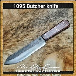 Hand Made 1095 Butcher Knife By Mark Mccoun USA Sealed Tiger Maple #2