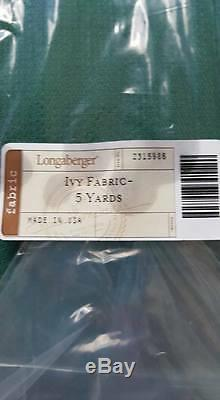 Longaberger Basket 5 Five Yard Fabric Ivy Green New Sealed Liner Made in USA