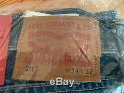 NEW & SEALED FROM 2017! Levi's 511 Made in USA Cone Mills Denim 34x32 Jeans