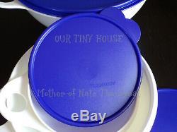 NEW Vintage Tupperware Thatsa Bowl SET RARE White Bowls & Blue Seals Made In USA