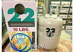 R22, refrigerant 10 Lb. SEALED, FAST SHIPPING, USA MADE, Gauge And Hose