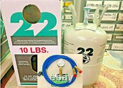R22, refrigerant 10 Lb. SEALED, FAST SHIPPING, USA MADE, Gauge & Hoses Kit Pro