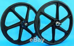 Skyway BLACK 20 Six Spoke TUFF WHEELS Mag SET old school BMX sealed USA-made