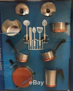 Vintage 1960s REVERE WARE Miniature Pots & Pans Play Set NOS Sealed USA Made