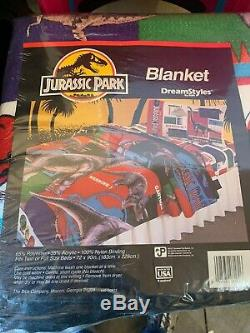 Vintage 1992 Jurassic Park Twin Size Comforter Blanket Made In USA Sealed New