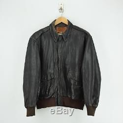 Vintage A-2 Seal Brown Leather Flight Bomber Jacket Made In USA Talon Zip L / XL