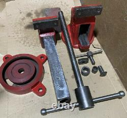 Vintage American Red Seal Bench Vise With Swivel Base Made In USA