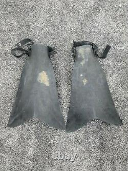 Vintage Force Fins Size Large Black, Made in USA Military Seals Boogie Boarding
